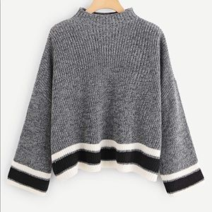 Grey white and black sweater bell sleeves